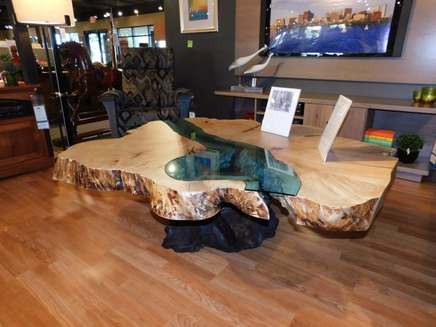 Oversized River Table on Stump Base Wood Species Shown: Spalted Maple / Redwood Special Feature: Custom-Cut Blue Glass Inset One of a Kind. Please contact us for pricing details.
