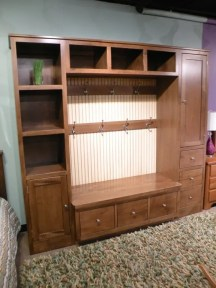 Coat Station with Varied Storage Compartments - AJ's Wood Species Shown: Brown Maple Fully Customizable. Please contact us for pricing details.