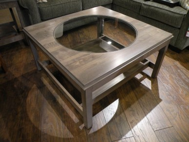 Metropolitan Coffee Table with Round Glass Inset Top Fully Customizable. Please contact us for pricing details.