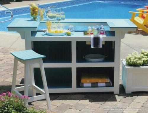 Outdoor Island with Ice Bowl and Saddle Bar Stool