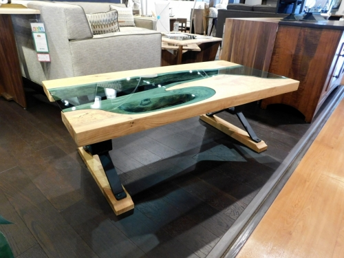 River Coffee Table with Blue Glass