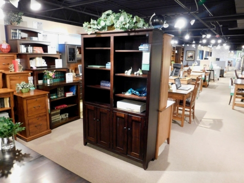 Modern Mission Bookcase with Lower Wood Doors