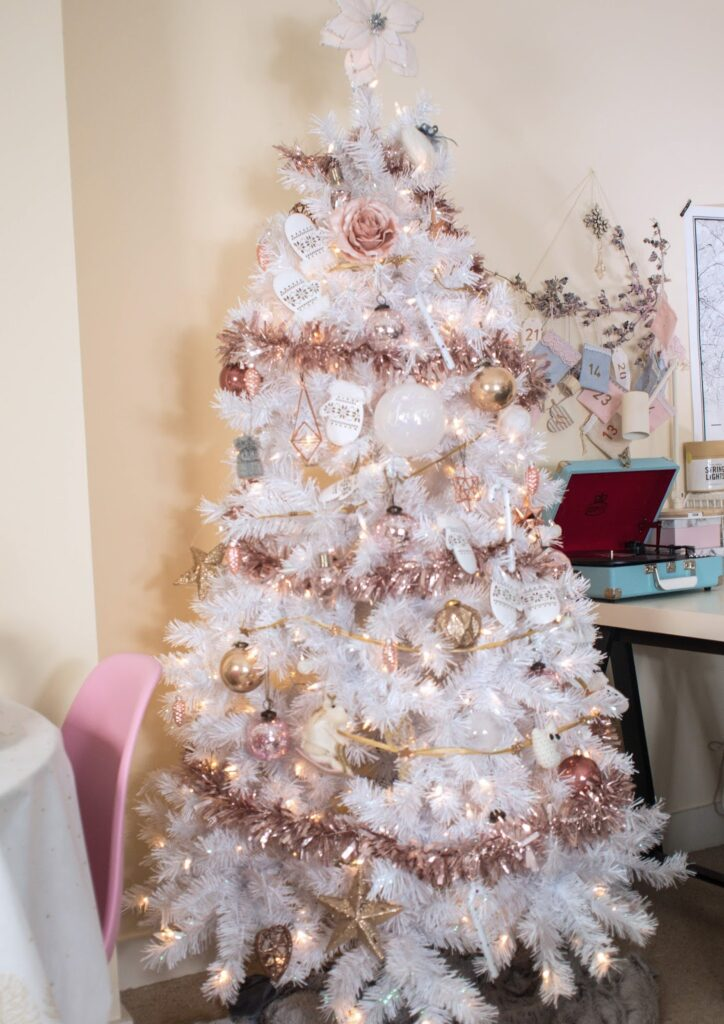 White Christmas Tree With Stylish Rose Gold And Pink Decorations Don T Cramp My Style