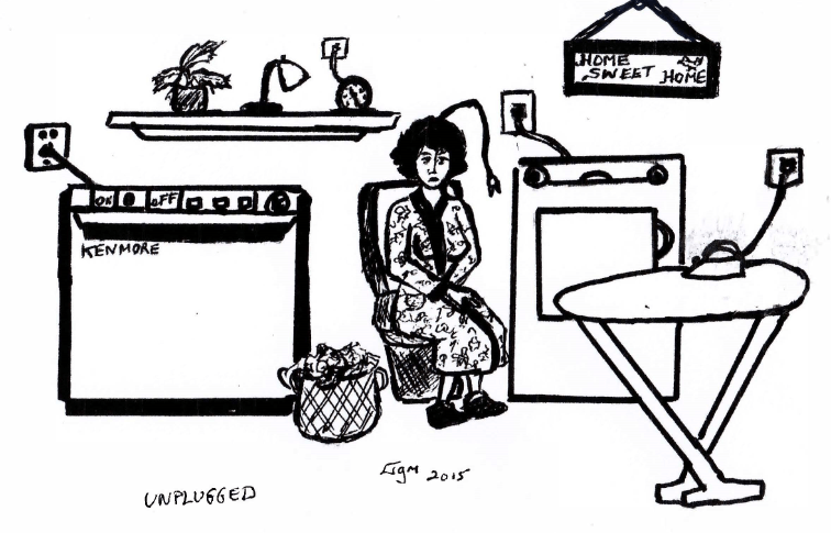 Illustration of a woman in a housecoat with an electrical plug emerging from her head. Around her, all electronics are plugged in mockingly.