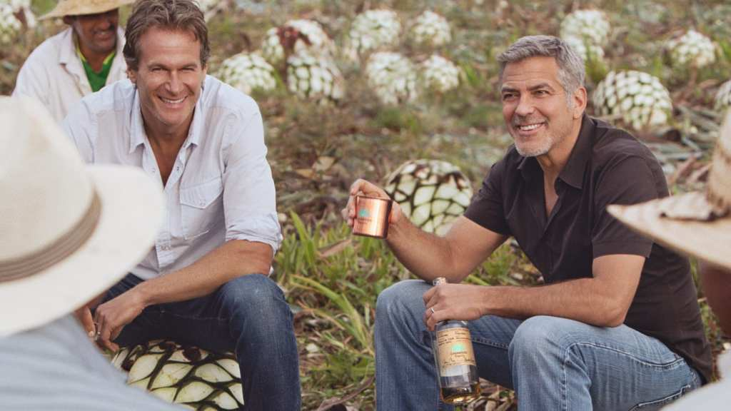 Rande Gerber & George Clooney toast with their Casa Amigos Tequila  Acquired by Diageo for close to $1Bn