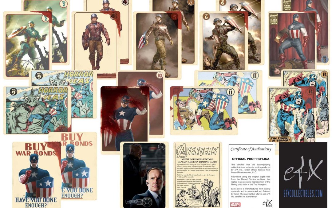 Avengers Agent Coulson's bloodstained Captain America Cards