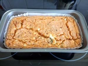 Sun dried tomato & feta flourless lentil loaf Lunch snack