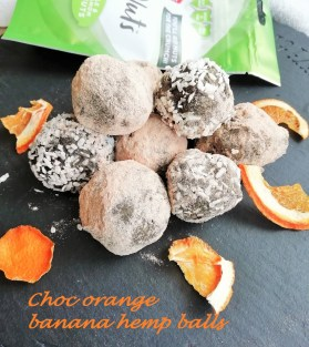 Chocolate orange hemp banana balls Breakfast energy balls Grainfree snack vegan
