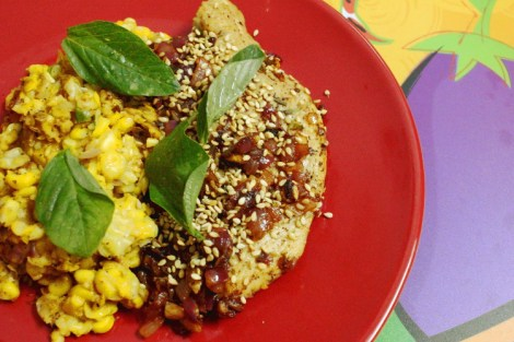 sesame crusted chicken with corn salad