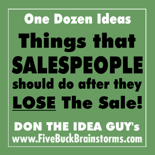 What to do after you LOSE the sale