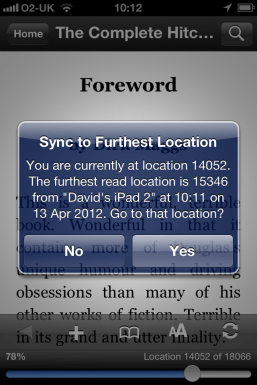 Kindle App - Whispersync in action