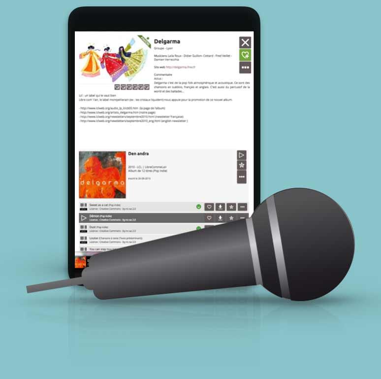 L'application Docz sur une tablette, avec un micro en premier plan