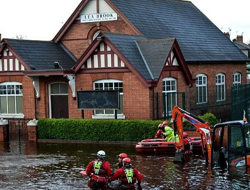 lea brook, road, water, main, burst