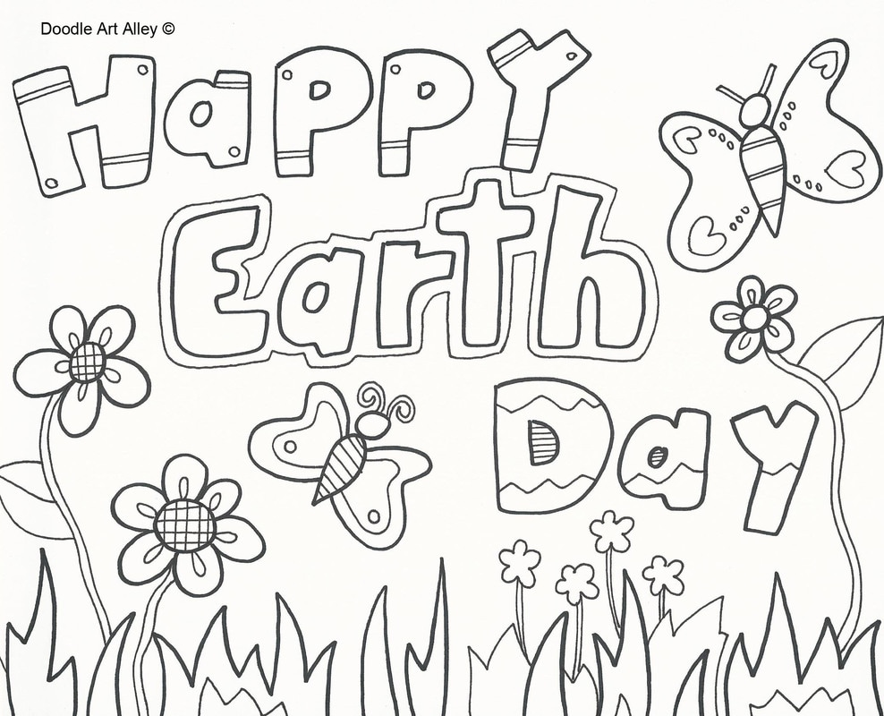 Earth Day Coloring Pages Doodle Art Alley