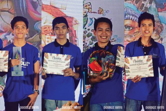 From left: Joshua Villena, second placer from Batangas; Artemio Bongawan Jr., third placer from Davao; Marion Rustell Helicame, fourth placer from Davao; and Cris Legaspi, fifth placer from Bacolod.