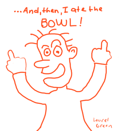 a picture of a guy who ate the bowl