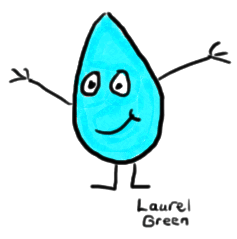 a drawing of a smiling teardrop