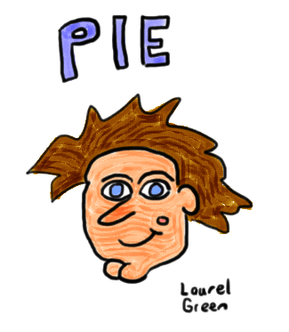 """a drawing of a face with the word """"pie"""" written above it"""
