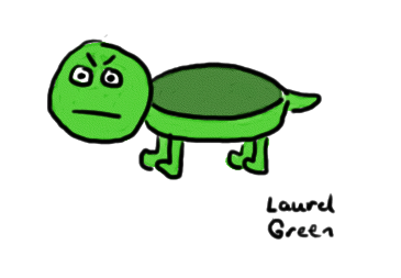 a drawing of a turtle with a scowl on its face