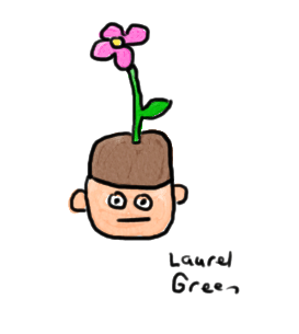 a drawing of a guy wearing a hat with a flower on it