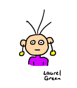 a drawing of a guy wearing gold dangly earrings