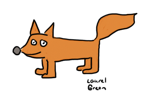 a drawing of a fox