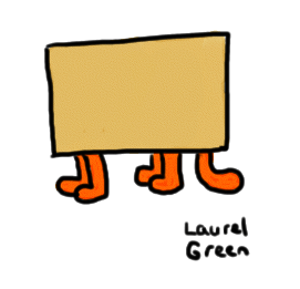 a drawing of a box with legs and a tail sticking out of the bottom