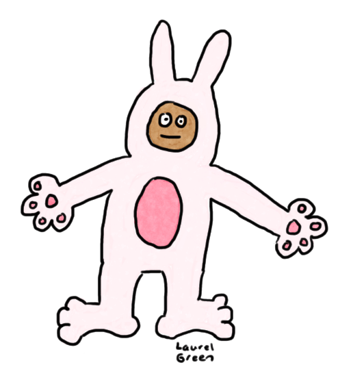 a drawing of a person wearing an easter bunny suit