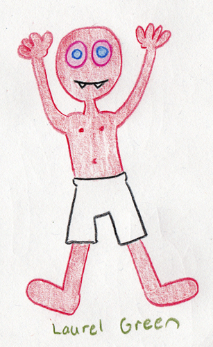 a drawing of a guy in his undershorts with pink eye