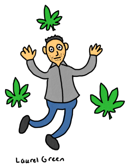 a drawing of a alexander lisi dancing with some marijuana