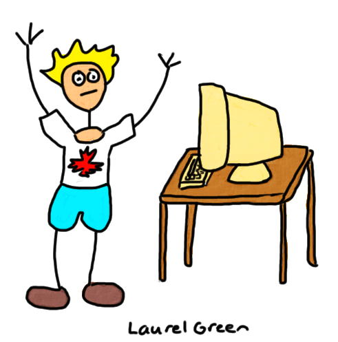 a drawing of a canadian and a computer