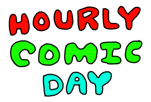 """""""HOURLY COMIC DAY"""" in colourful letters"""