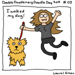 a drawing of laurel walking her dog