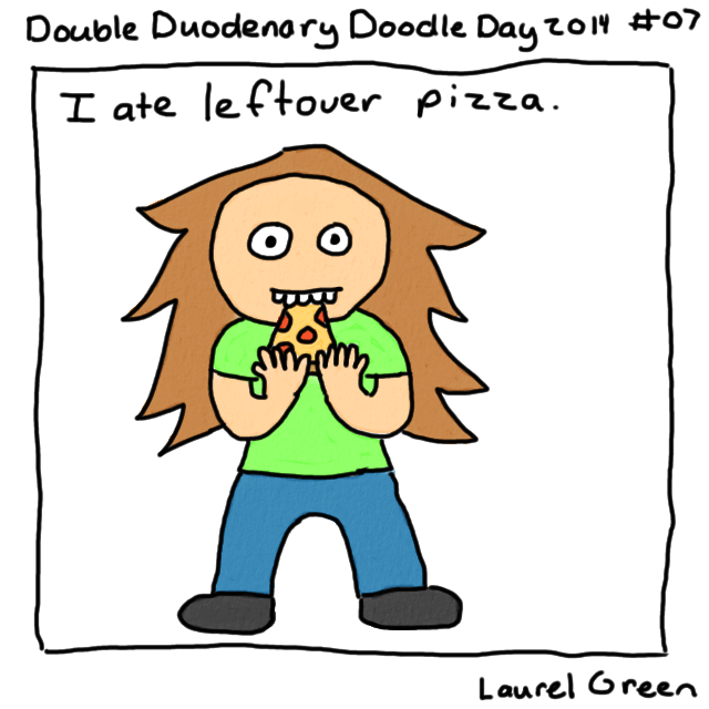 a drawing of laurel eating pizza