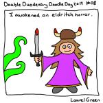 a drawing of laurel summoning an eldritch horror