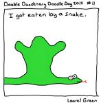a drawing of laurel inside a snake