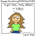 a drawing of laurel looking tired