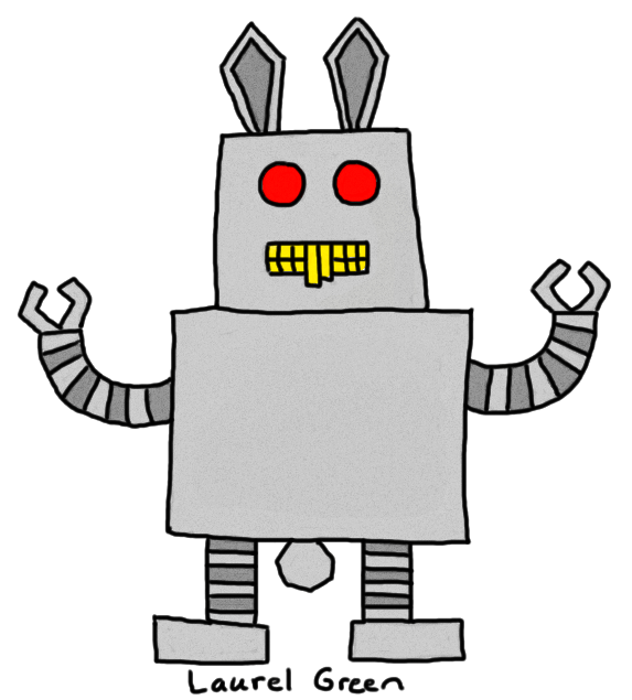 a drawing of a robotic bunny