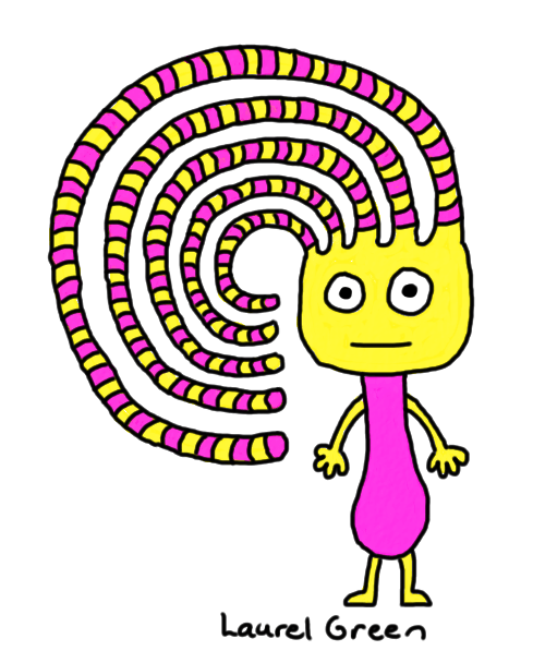 a drawing of a creature with a crazy, swirly, stripey hairdo