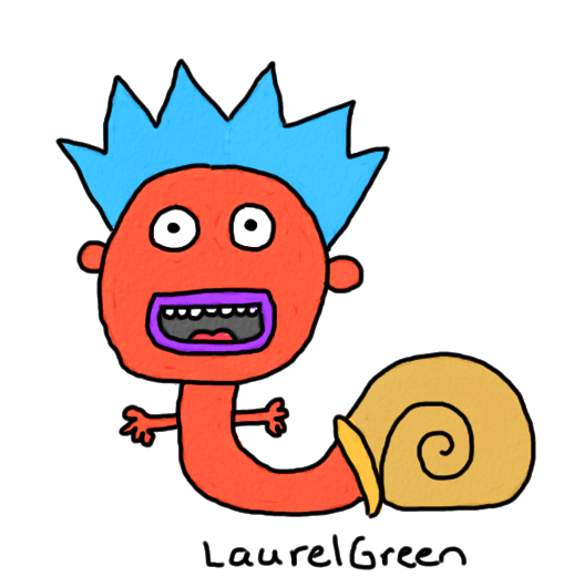 a drawing of a snail shell with a person growing out of it