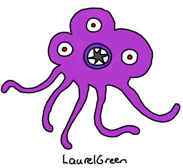 a drawing of a be-tentacled thing with three eyes