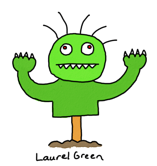 a drawing of a halloween lawn ornament monster