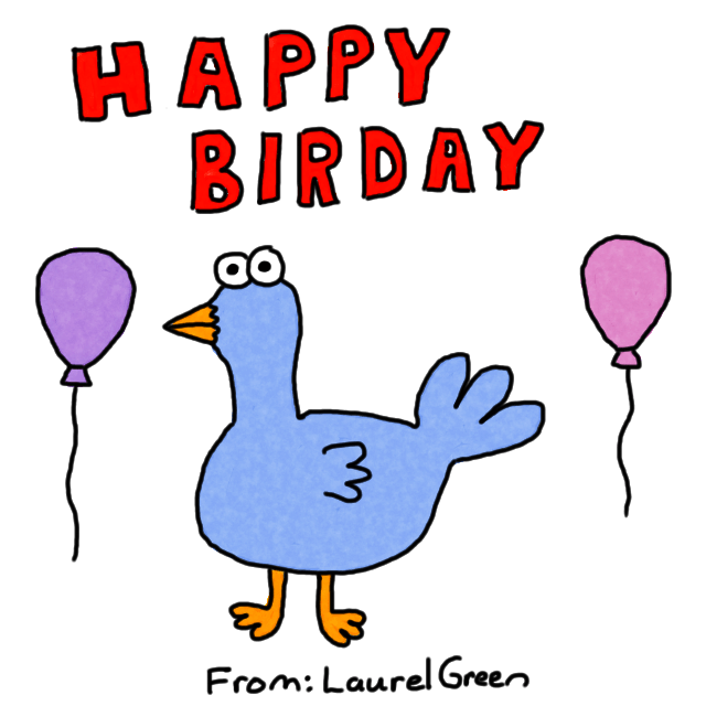 """a drawing of a birthday card that says """"happy birday"""" and has a picture of a bird and balloons on it"""