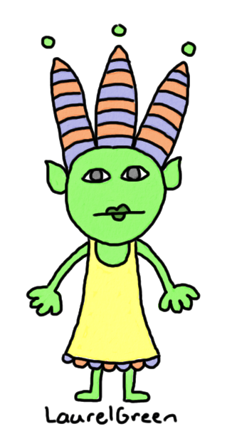 a drawing of a troll lady