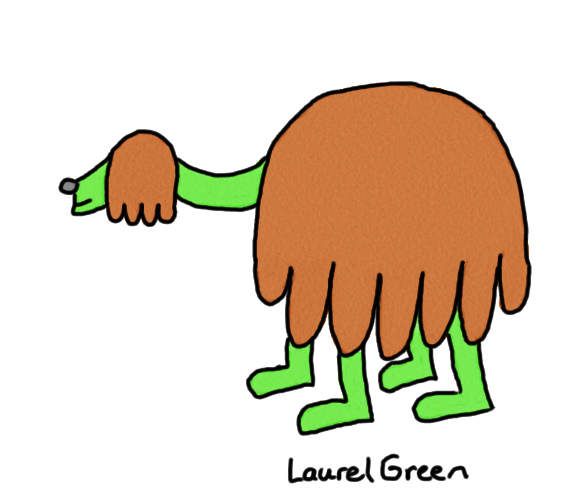 a drawing of a quadrupedal creature with shaggy brown fur