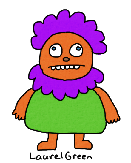 a drawing of a creature with a gross purple neckbeard
