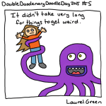 a drawing of laurel green being attacked by an octopus