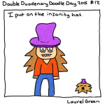 a drawing of laurel green and her dog wearing purple top hats