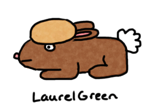 a drawing f a bunny with a pancake on its head