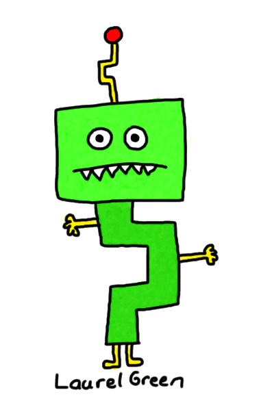 a drawing of a bent green robot